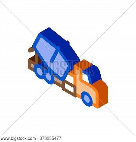 Concrete Mixer Truck Icon Vector. Isometric Concrete Mixer Truck Sign. Color Isolated Symbol Illustr