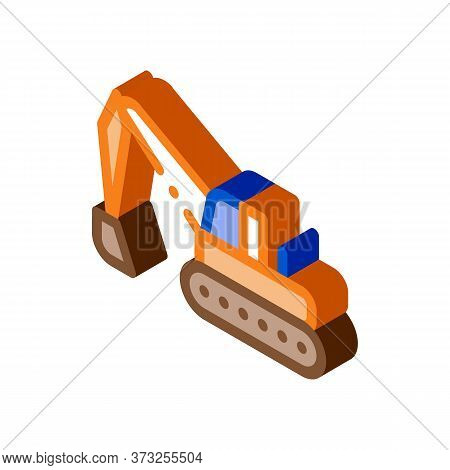 Road Repair Excavator Icon Vector. Isometric Road Repair Excavator Sign. Color Isolated Symbol Illus