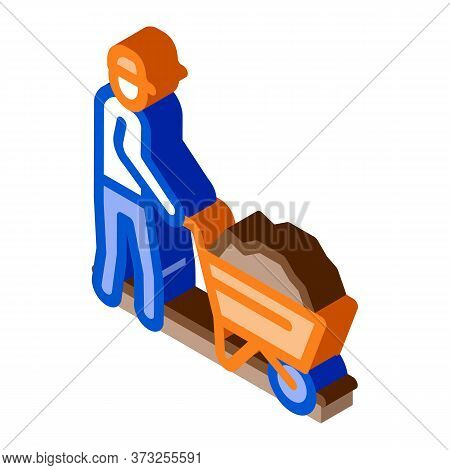 Worker With Cart Icon Vector. Isometric Worker With Cart Sign. Color Isolated Symbol Illustration
