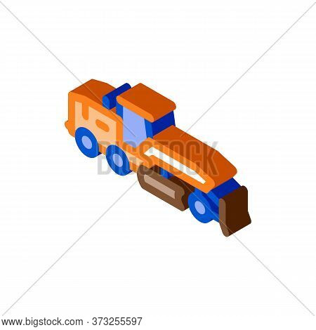 Road Repair Tractor Icon Vector. Isometric Road Repair Tractor Sign. Color Isolated Symbol Illustrat