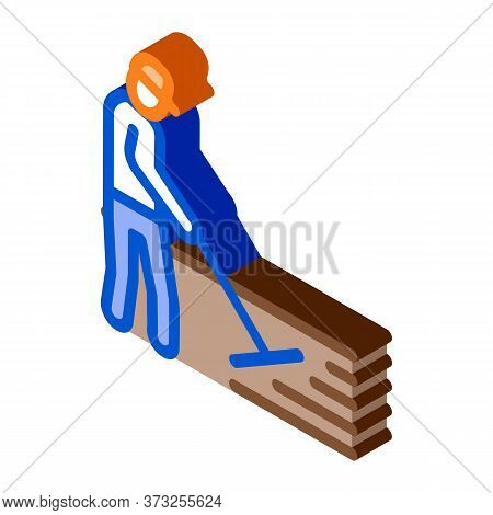 Worker Road Repair Icon Vector. Isometric Worker Road Repair Sign. Color Isolated Symbol Illustratio