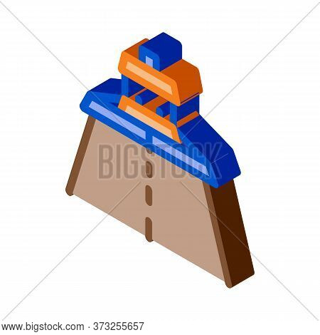 Road Repair Paver Machine Icon Vector. Isometric Road Repair Paver Machine Sign. Color Isolated Symb