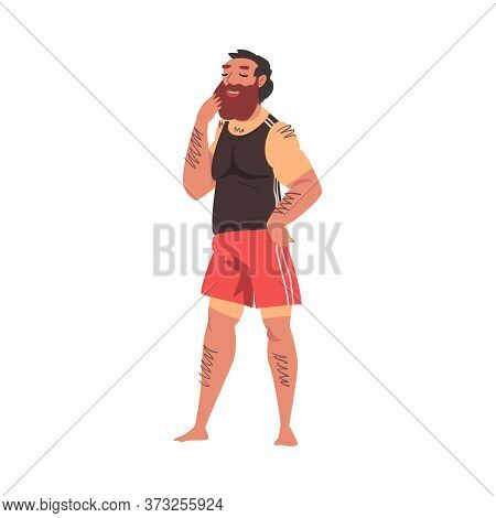 Relaxed Bearded Man With Sunburn, Lounging Male Character Enjoying His Leisure Vacation, Summer Holi