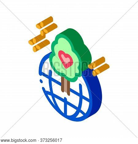 Wordwide Forestry Safe Icon Vector. Isometric Wordwide Forestry Safe Sign. Color Isolated Symbol Ill