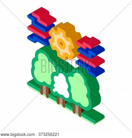 Forestry Mechanical Gear Icon Vector. Isometric Forestry Mechanical Gear Sign. Color Isolated Symbol