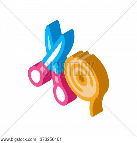 Flower Shop Scissors And Ribbon Icon Vector. Isometric Flower Shop Scissors And Ribbon Sign. Color I