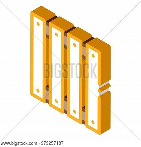 Wooden Fence Icon Vector. Isometric Wooden Fence Sign. Color Isolated Symbol Illustration