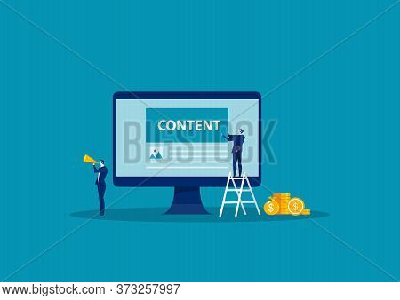 Business Engaged In Content Creation Workflow Process. Blog Online Channel Development, Followers An