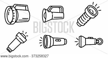 Flashlight Icons Set. Outline Set Of Flashlight Vector Icons For Web Design Isolated On White Backgr