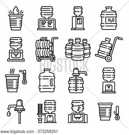 Cooler Water Icons Set. Outline Set Of Cooler Water Vector Icons For Web Design Isolated On White Ba