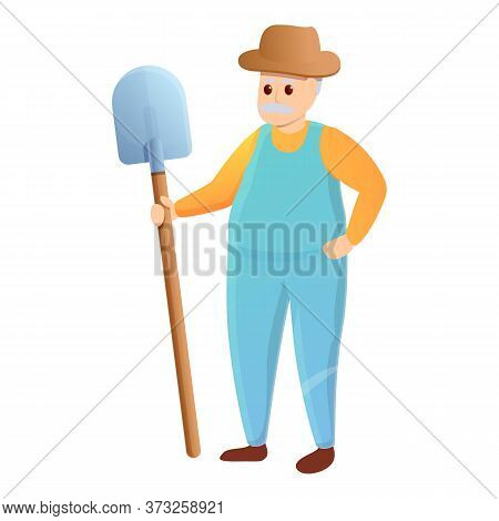 Old Agronomist With Shovel Icon. Cartoon Of Old Agronomist With Shovel Vector Icon For Web Design Is