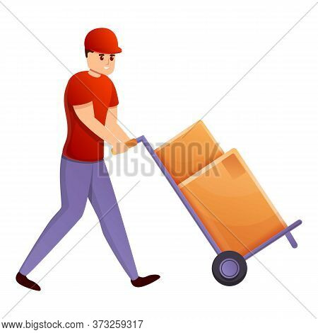 Courier With Box Cart Icon. Cartoon Of Courier With Box Cart Vector Icon For Web Design Isolated On
