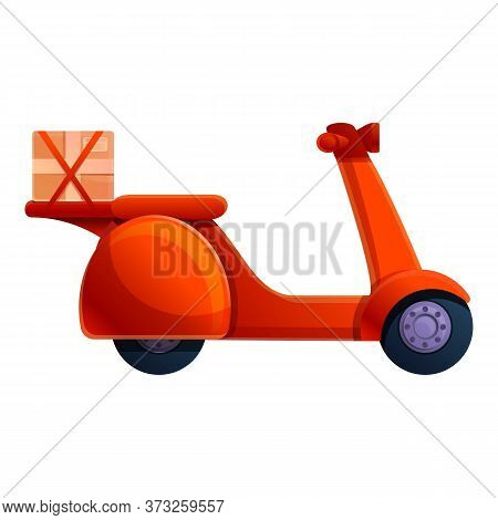 Courier Red Scooter Icon. Cartoon Of Courier Red Scooter Vector Icon For Web Design Isolated On Whit