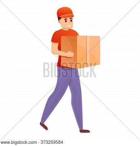 Home Courier Icon. Cartoon Of Home Courier Vector Icon For Web Design Isolated On White Background