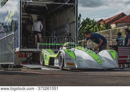 Skradin Croatia June 2020 Formula Race Car Being Lifted Into A Specialized Truck For Transportation
