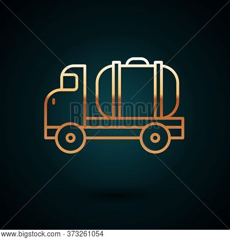 Gold Line Tanker Truck Icon Isolated On Dark Blue Background. Petroleum Tanker, Petrol Truck, Cister