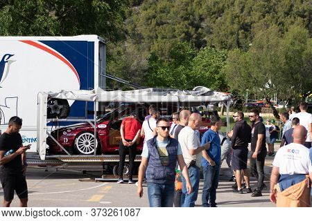 Skradin Croatia June 2020 Alfa Romeo Race Car Placed On A Trailer Being Towed After A Day At The Rac