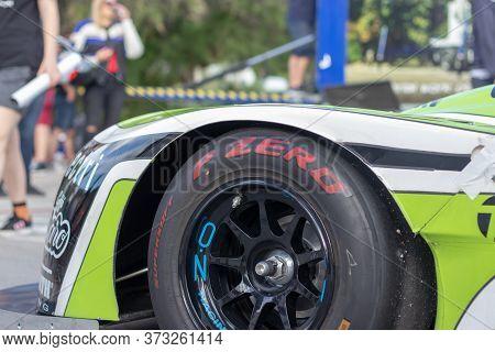 Skradin Croatia June 2020 Closeup Of A Pirelli P Zero Slick Racing Tire, Mounted On A Norma M20 Form