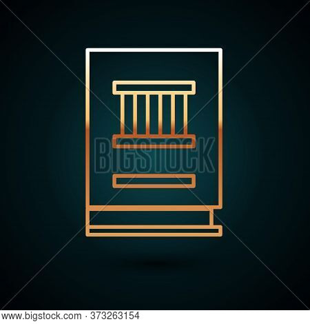 Gold Line Law Book Icon Isolated On Dark Blue Background. Legal Judge Book. Judgment Concept. Vector