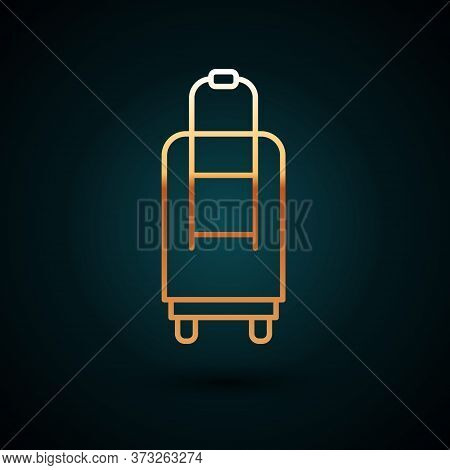 Gold Line Suitcase For Travel Icon Isolated On Dark Blue Background. Traveling Baggage Sign. Travel