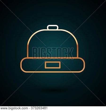Gold Line Beanie Hat Icon Isolated On Dark Blue Background. Vector Illustration