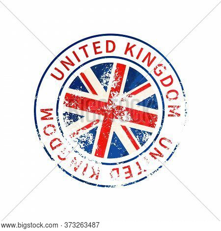 United Kingdom Sign, Vintage Grunge Imprint With Flag On White