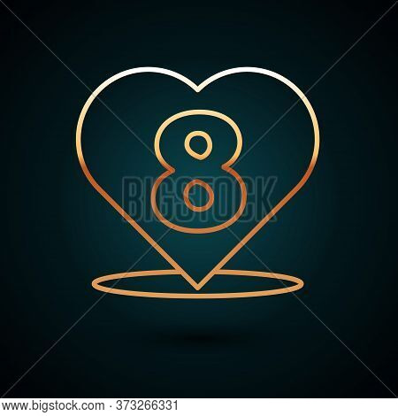 Gold Line Heart With 8 March Icon Isolated On Dark Blue Background. Romantic Symbol Linked, Join, Pa