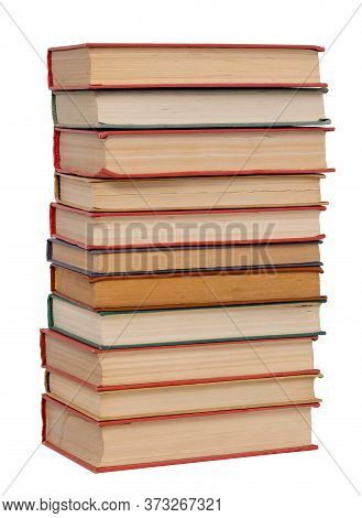 Abstract Old Books Stack Isolated On White Background, Close-up