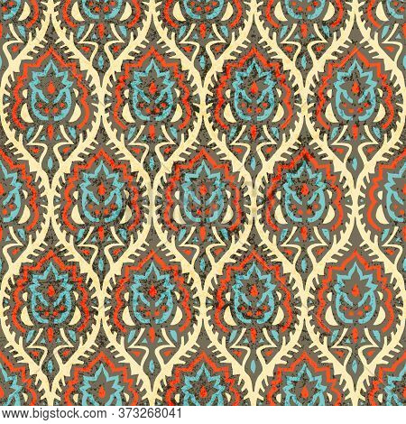 Ogee Seamless Pattern. Bohemian Wavy Print For Textiles. Red, Gray, Blue And Beige Colors. Grunge Te