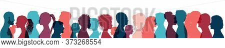 Neurology And Psychiatry Psychology Concept.silhouette Human Heads Group People Profile.mental Healt