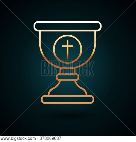 Gold Line Christian Chalice Icon Isolated On Dark Blue Background. Christianity Icon. Happy Easter.