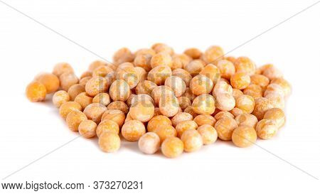 Heap Of Whole Dry Yellow Peas Isolated On White Background