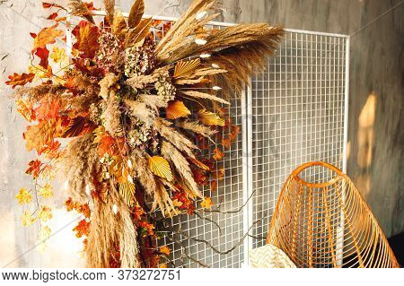 Close Up Modern Interior With Wicker Chair And Pampass Grass