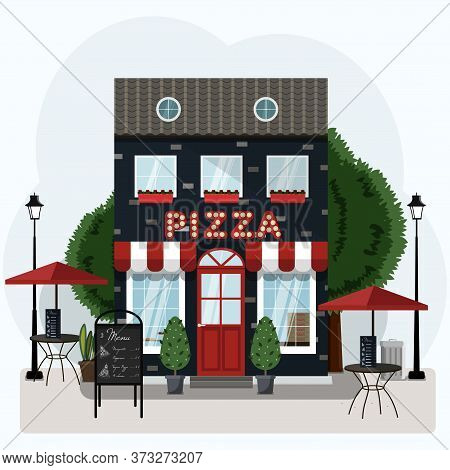 Facade Of A Pizza Restaurant With Outdoor Tables And Home Delivery. Vector Illustration Of A Pizzeri
