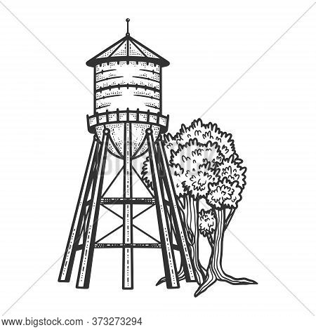 Water Tower Sketch Engraving Vector Illustration. T-shirt Apparel Print Design. Scratch Board Imitat