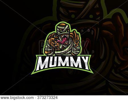 Mummy Sport Logo Design. Zombie Mascot Vector Illustration Logo. Death Mummy Mascot Design, Emblem D