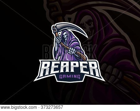Grim Reaper Mascot Sport Logo Design. Death Evil Mascot Vector Illustration Logo. The Reaper Mascot