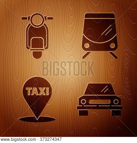 Set Car, Scooter, Map Pointer With Taxi And Tram And Railway On Wooden Background. Vector