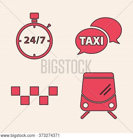 Set Tram And Railway, Stopwatch 24 Hours, Taxi Call Telephone Service And Taxi Car Roof Icon. Vector
