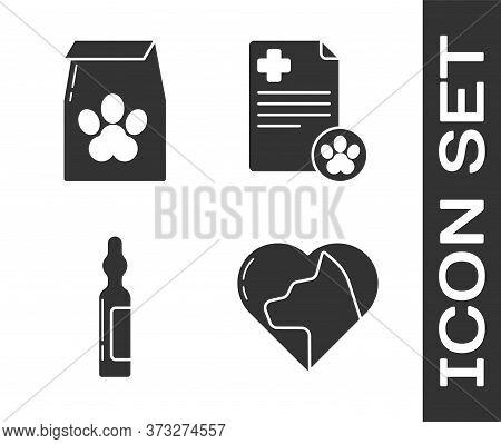 Set Heart With Cat, Bag Of Food For Pet, Pets Vial Medical And Clipboard With Medical Clinical Recor