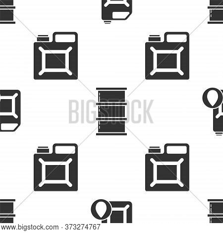 Set Canister For Motor Machine Oil, Barrel Oil And Canister For Gasoline On Seamless Pattern. Vector