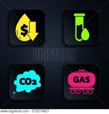 Set Gas Railway Cistern, Drop In Crude Oil Price, Co2 Emissions In Cloud And Oil Petrol Test Tube. B