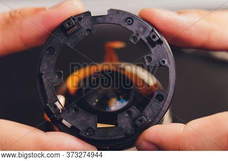 Precision Prime Optical Dslr Lens Service, Adjustment And Alignment. Camera Lens Repair Set In Photo