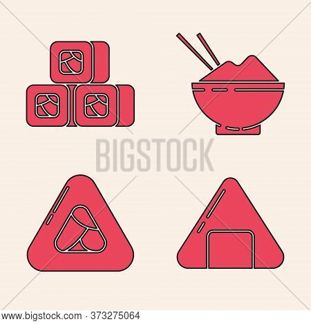 Set Sushi, Sushi, Rice In A Bowl With Chopstick And Sushi Icon. Vector