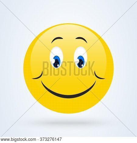 Shy Emoji Emoticon Looking Down, Emoji Vector Illustration.