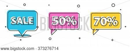 Set Hanging Sign With Sale, Fifty Discount Percent Tag And Seventy Discount Percent Tag Icon. Vector