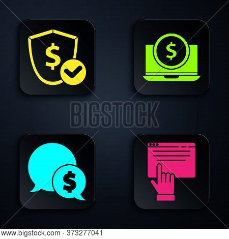 Set Online Shopping On Screen, Shield With Dollar, Speech Bubble With Dollar And Laptop With Dollar.