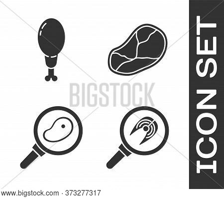 Set Fish Steak In Frying Pan, Chicken Leg, Steak Meat In Frying Pan And Steak Meat Icon. Vector