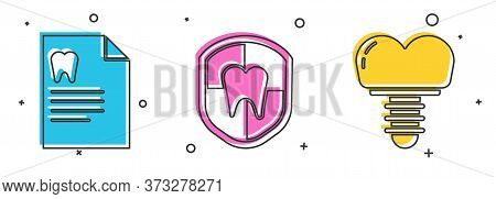 Set Clipboard With Dental Card, Dental Protection And Dental Implant Icon. Vector