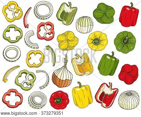 Bell Pepper And Onion Set. Hand Drawn Red, Green, Yellow Peppers, White Onion Bulb Vector Illustrati